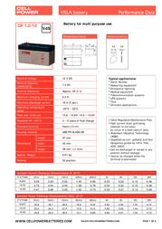 CellPower VRLA battery CP1,2-12 Leaflet