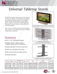 Premier Mounts Universal Tabletop Stand (Black Base) (PSD-TTS/B) PSD-TTS/B Leaflet