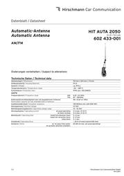 Hirschmann Car Communication Hirschmann Motor Retractable Antenna 602 433-001 Data Sheet