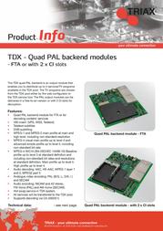 Triax TDX Backend - PAL (FTA) 492050 Leaflet
