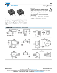 Vishay 63 P 100K Precision Trimming Potentiometer 63 P 100K Data Sheet