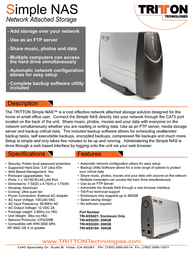 Tritton Simple NAS Network Hard Drive TRI-NSS320 Leaflet
