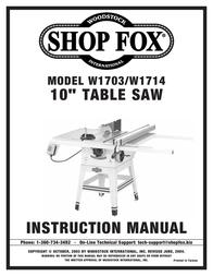 Woodstock W1703/W1714 User Manual