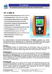 Ht Instruments PVCHECKSolar meter, photovoltaic meter 1009500 Data Sheet