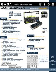 EVGA e-GeForce 8800 GTS ACS3 640-P2-E821-AR Leaflet