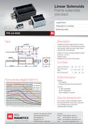 Intertec ITS-LS-4035-D-12VDC, 8 N – 75 N electromagnet, 12 Vdc 12.7 W M4 ITS-LS-4035-D-12VDC Data Sheet