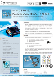 Brainboxes PM-010 PCMCIA Dual Velocity RS-232 PM-010 User Manual