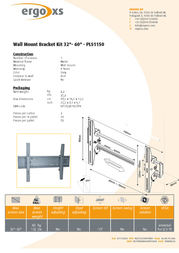 """ErgoXS Wall Mount Bracket Kit 32""""- 60"""" PLS1150 Leaflet"""