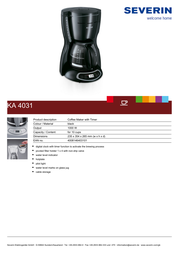 Severin KA 4031 Coffee Maker KA4031 Leaflet