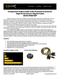 Offspring Technologies GoldX® PlusSeries® Hi-Def Component Video Cable W/ Premium Connector 6 Feet GXAV-RGB-06P Leaflet