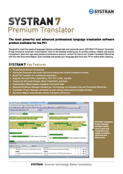 SYSTRAN 7 Premium Translator P7-3-EN-EU-ESD Leaflet