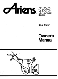 Ariens SNO-THRO 932 User Manual