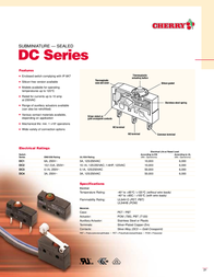 Cherry Switches 6141237 Auxiliary Actuator For DB / DC Series - 6141237 Data Sheet