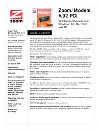 Zoom V.92 Controllerless PCI Modem 3025-72-00CF Leaflet