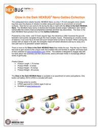 """HEXBUG nano """"Glow in the Dark"""" Micro Robotic Creature HB-477-2446 Data Sheet"""