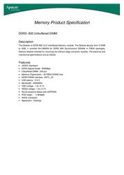 Apacer DDR2 2048MB Memory Module 78.A1GA0.9K4 Leaflet