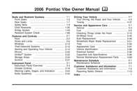 Pontiac Vibe 2006 User Manual