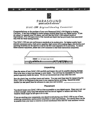 Parasound D / A C -1500 User Manual