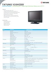 "Tatung 20.1"" Super High Definition Widescreen LCD TV V20KCDD Leaflet"