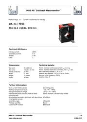 Mbs ASK31.3 250/5A Current transformer ASK. 31.3 7053 Data Sheet