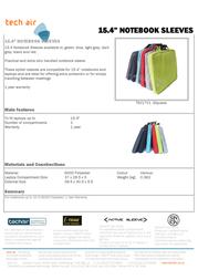 Tech air 15.4 Notebook Sleeve Black TSNB Leaflet