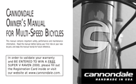 Cannondale Bicycles User Manual