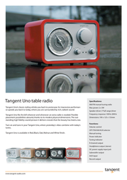 Tangent Uno Table Radio - Walnut UNOWAL Leaflet