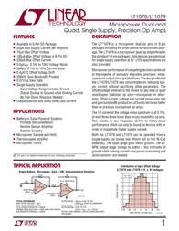 Linear Technology LT1079CN Linear IC DIP14 P Prec Quad Op Amp LT1079CN Data Sheet