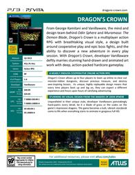 Atlus Dragons Crown PS3 DC-00149-1 Leaflet