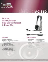 Cyber Acoustics AC-850 Data Sheet