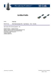 M-Cab High Quality VGA Verbindungskabel - 10m 7000729 Leaflet