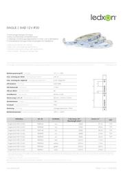 Ledxon LED strip pliable, self-adhesive 12 Vdc 50 mm Warm white 2400 K 9009104 Data Sheet