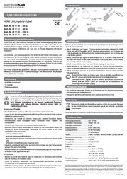 Speaka Professional HDMI LWL-HYBRID-KABEL 50,5 M 491107 Data Sheet