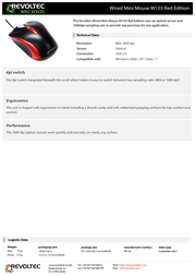 Revoltec Wired Mini Mouse W103 Red Edition RE136 Leaflet
