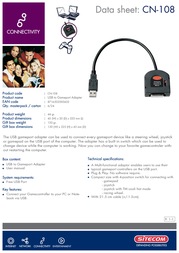 Sitecom USB - Gameport adapter CN-108 Leaflet