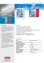 PEAK CompactFlash Card 4GB 259220FBPK Leaflet