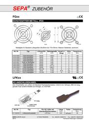 Sepa 921220045 LFG120-45 3-piece Dust Filter Grill (W x H x D) 126 x 126 x 13 mm 921220045 Data Sheet