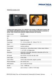 Praktica luxmedia 12-XS 259 309 Leaflet