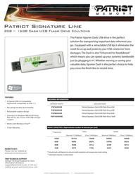 Patriot Memory Signature Dash USB Flash Drive 4GB PSF4GDUSB Leaflet