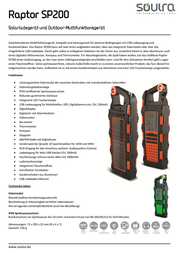 Soulra Outdoor Solar Multi Raptor Sp200, Orange 69537 Data Sheet