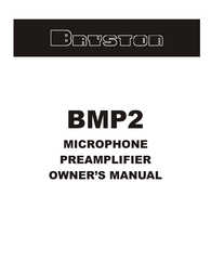Bryston BMP2 Owner's Manual