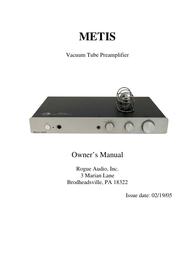 Rogue Audio METIS Vacuum Tube Preamplifier User Manual