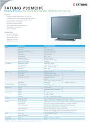 "Tatung 32"" Widescreen LCD TV V32MCHK Leaflet"