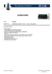 M-Cab Card Reader USB 2.0 - All in 1 7300023 Leaflet
