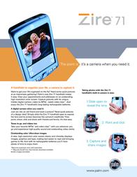Palm Zire 71 NON 16MB OS5 + MP3 Audio Ki P80720ML3-AUDIO Leaflet