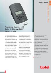 Tiptel Answering machine Tiptel 215 Clip 1062510 Leaflet