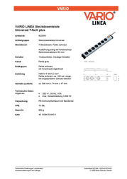 Ehmann Socket strip (+ switch) 7 x Grey-black PG connector 0201x01074301 0201x01074301 Data Sheet