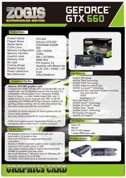 Zogis GeForce GTX 660 ZOGTX660-2GD5H Leaflet