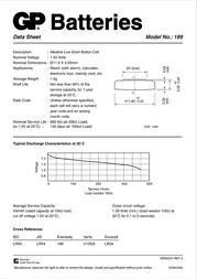GP Batteries Alkaline High Drain Button Cell  Model No.: 189 050EU189-U1 Leaflet