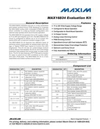 Maxim Integrated MAX16834 Evaluation Kit MAX16834EVKIT+ MAX16834EVKIT+ Data Sheet